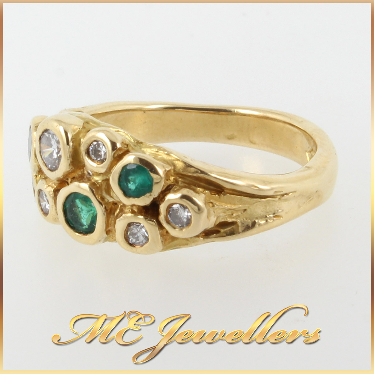 952 Emerald and Diamond Dress Ring In 18K YG side 2