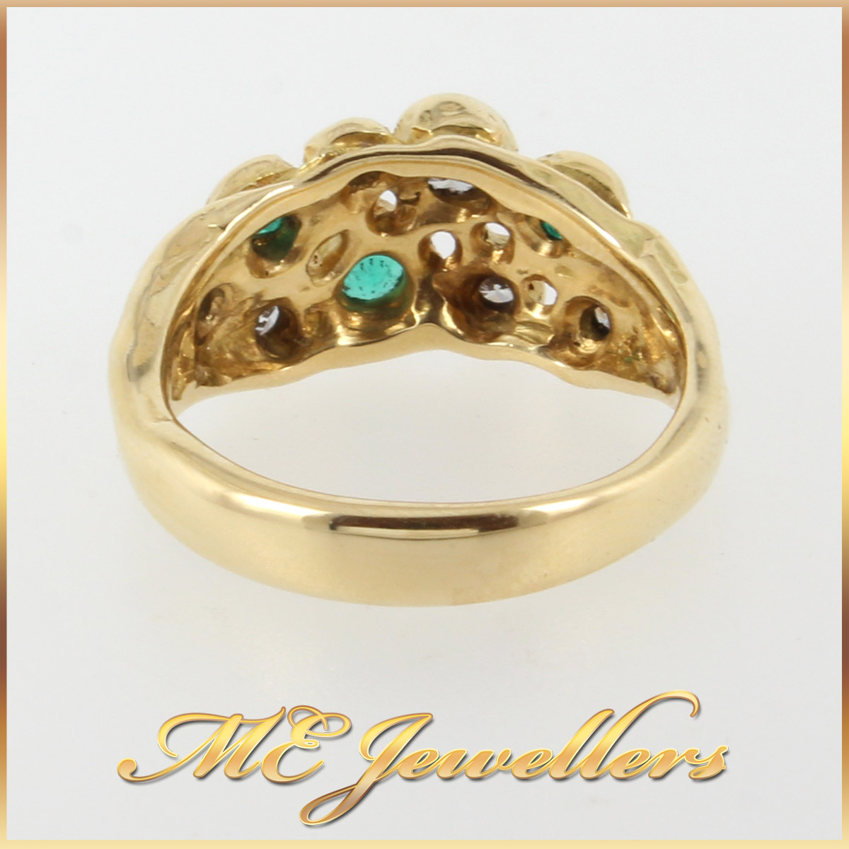 952 Emerald and Diamond Dress Ring In 18K YG shank
