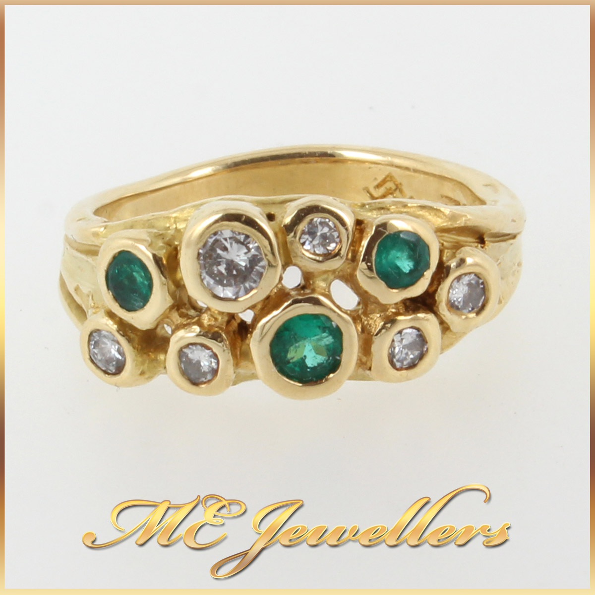 952 Emerald and Diamond Dress Ring In 18K YG main