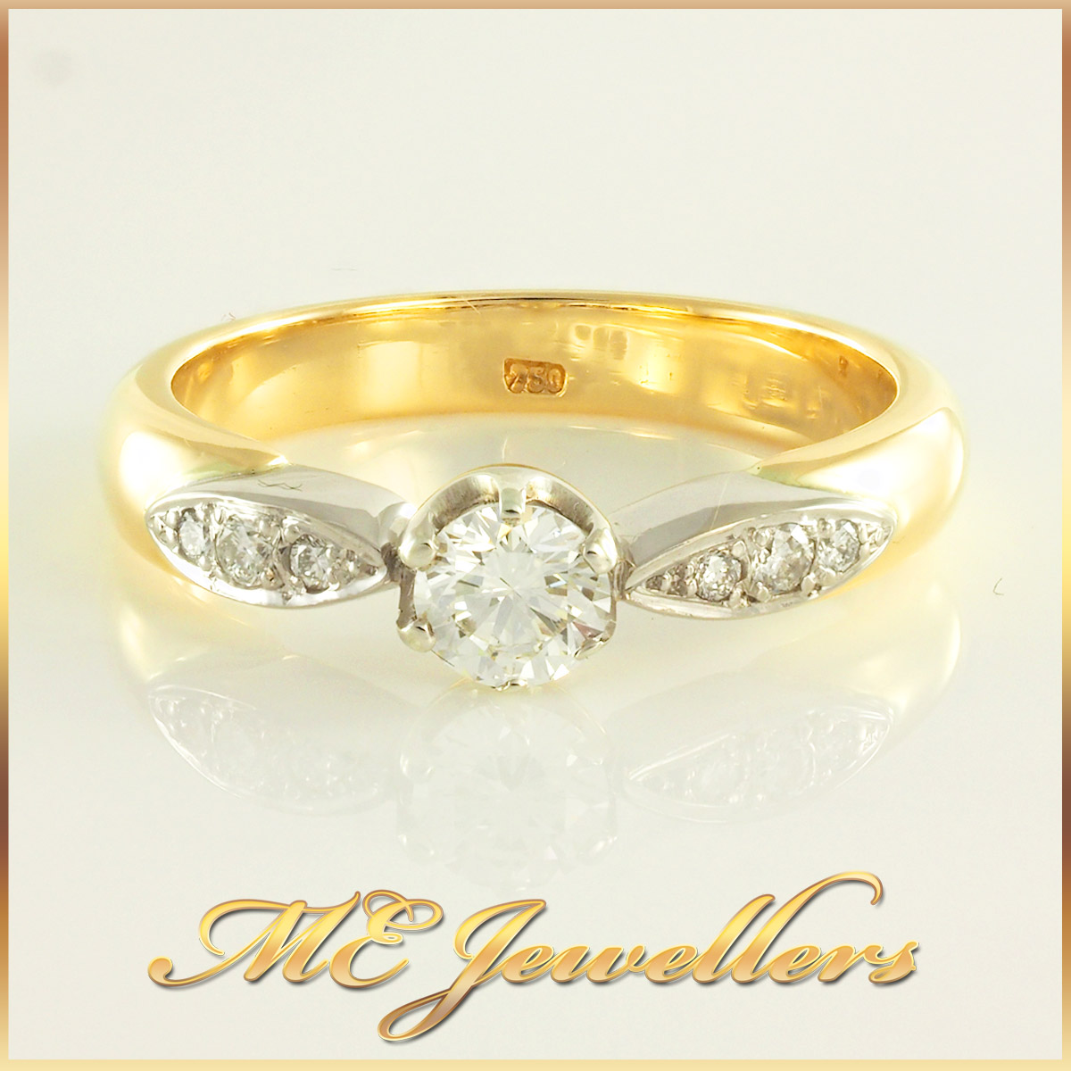 2811 -18K Gold Diamond Engagement Ring Sz Q 1/2 2