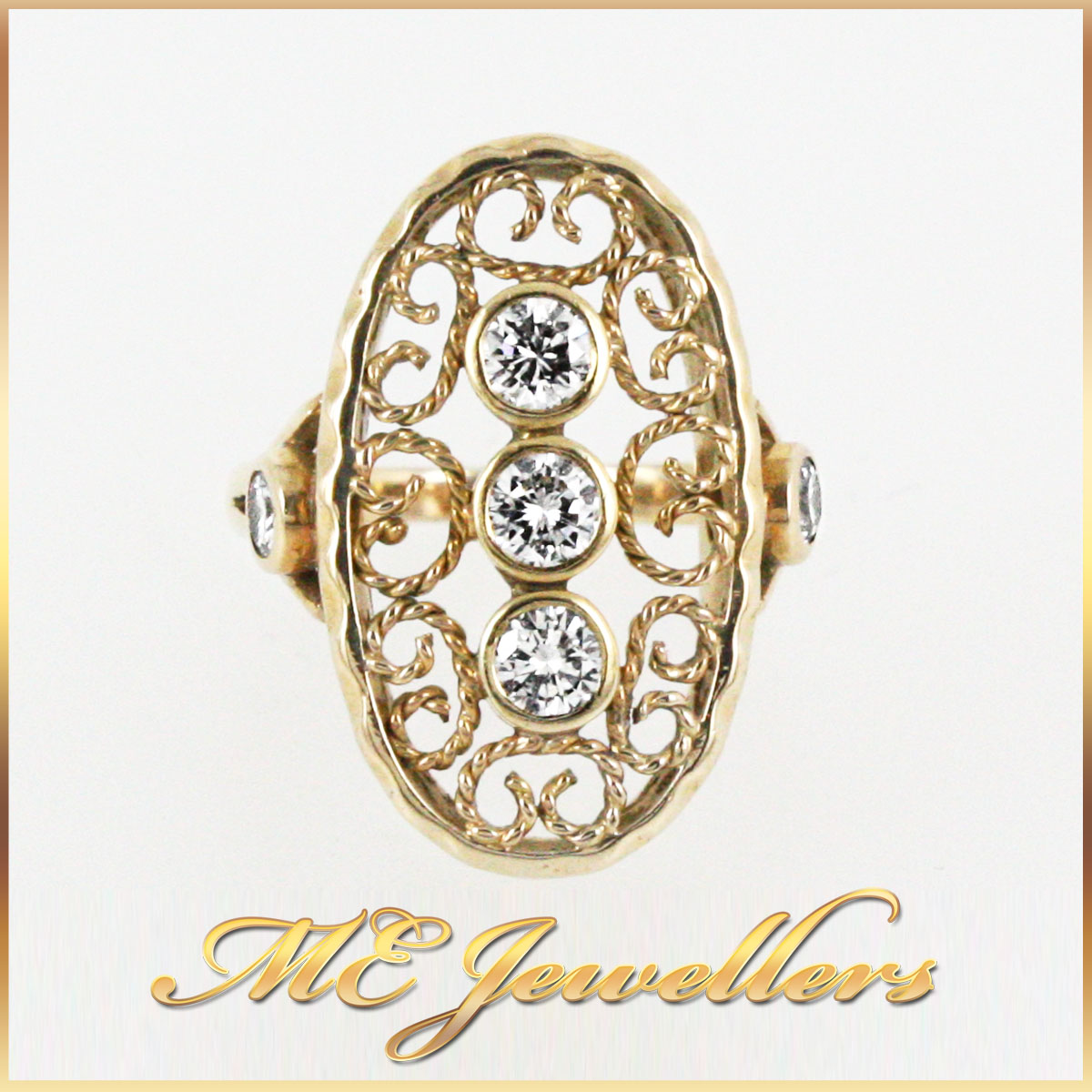 4595_ Filigree Ring In 18K Yellow Gold With Diamonds 1