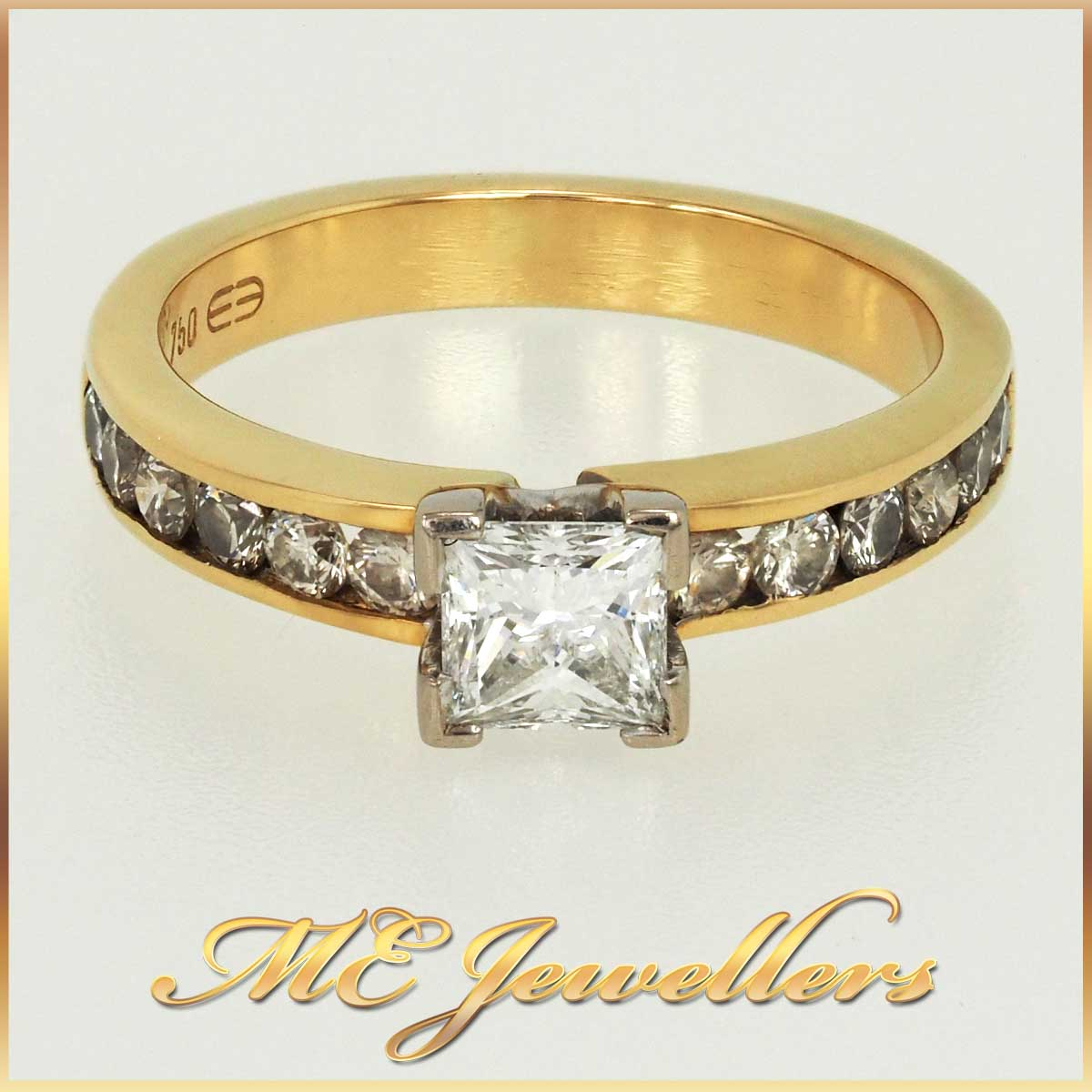Solid 18K 18ct 18kt Yellow White Gold Princess Cut Diamond Engagement Ring With Accents Sz L 5