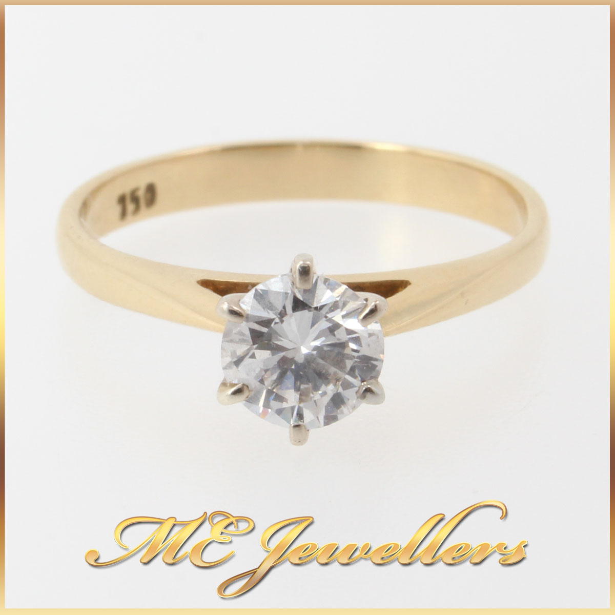 3706_ 0.50ct Solitaire Round Brilliant Cut Diamond Engagement Ring 18K 750 Yellow Gold 1