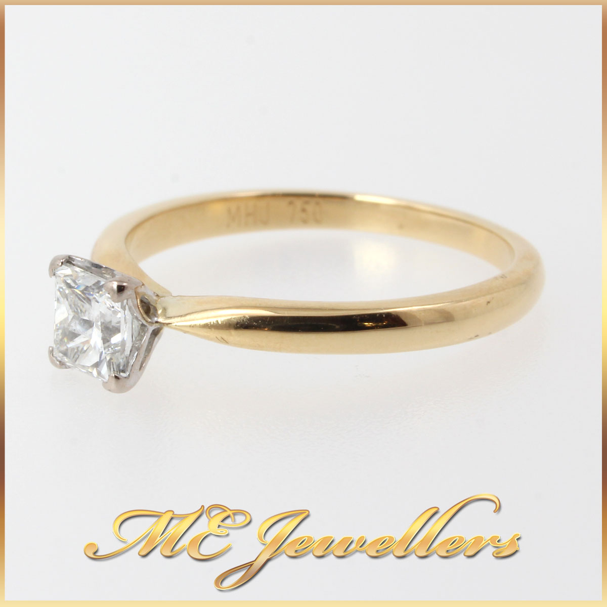 5116_ 0.50ct Princess Cut Diamond Engagement Ring 18k 18ct 750 Yellow Gold Size M (1)
