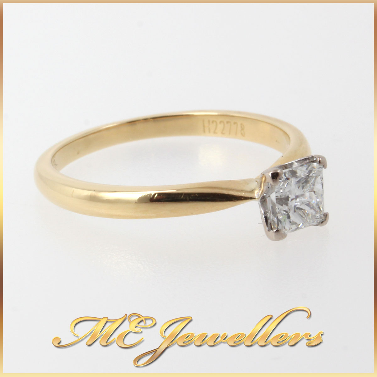 5116_ 0.50ct Princess Cut Diamond Engagement Ring 18k 18ct 750 Yellow Gold Size M (4)
