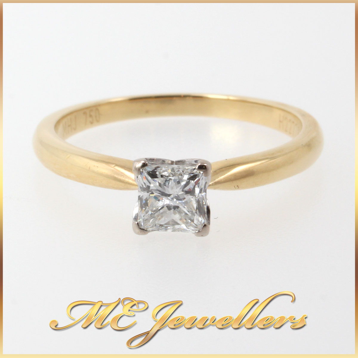 5116_ 0.50ct Solitaire Diamond Engagement Ring 18k 18ct 750 Yellow Gold Size M (5)
