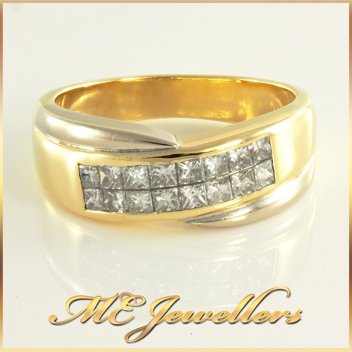 Invisible Setting Diamond Ring in 18K Two Tone Gold