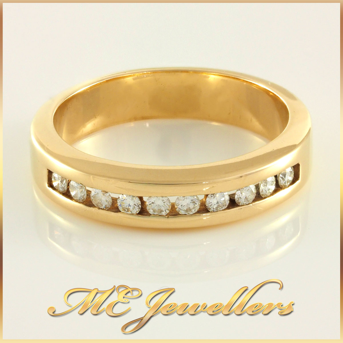Ladies 14K Yellow Gold Diamond Wedding Band