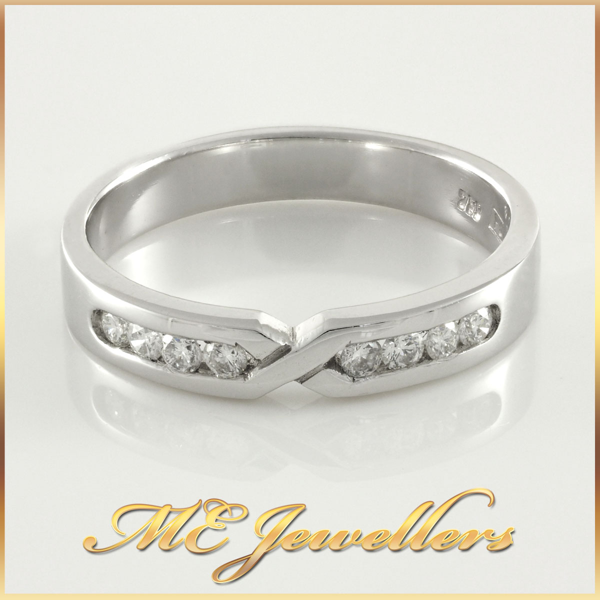18k White Gold Diamond Ladies Band