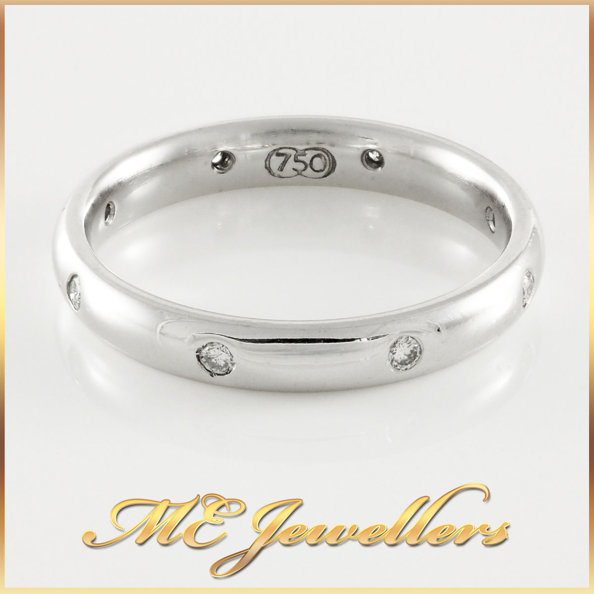 Curved Diamond 18K White Gold Band