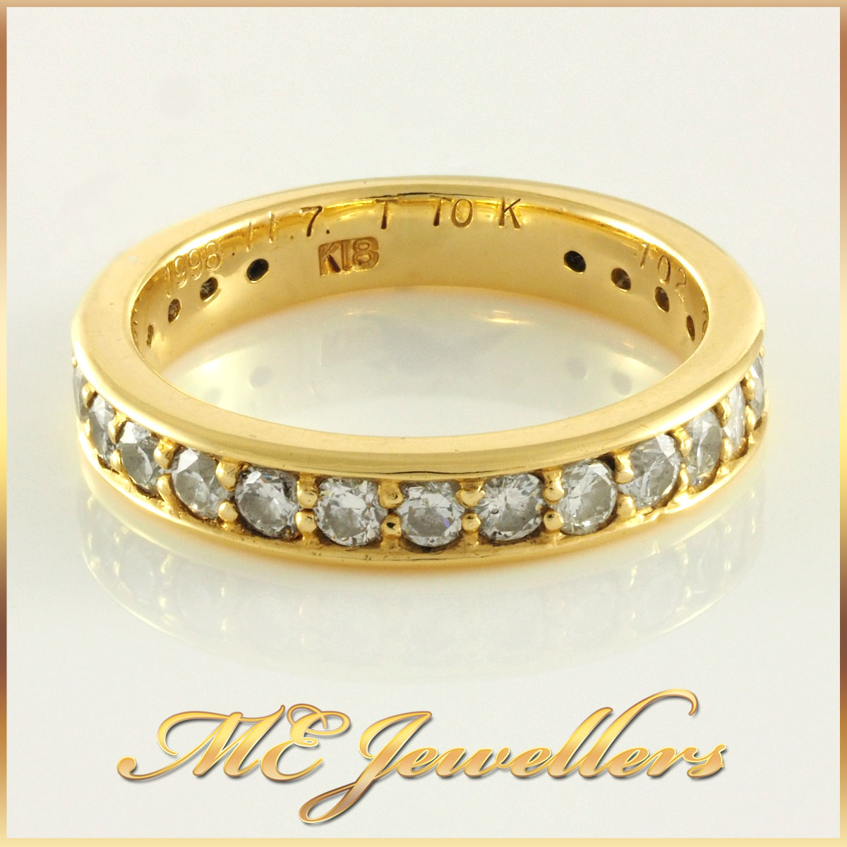 Ladies 18k Gold Grain Set Diamond Band