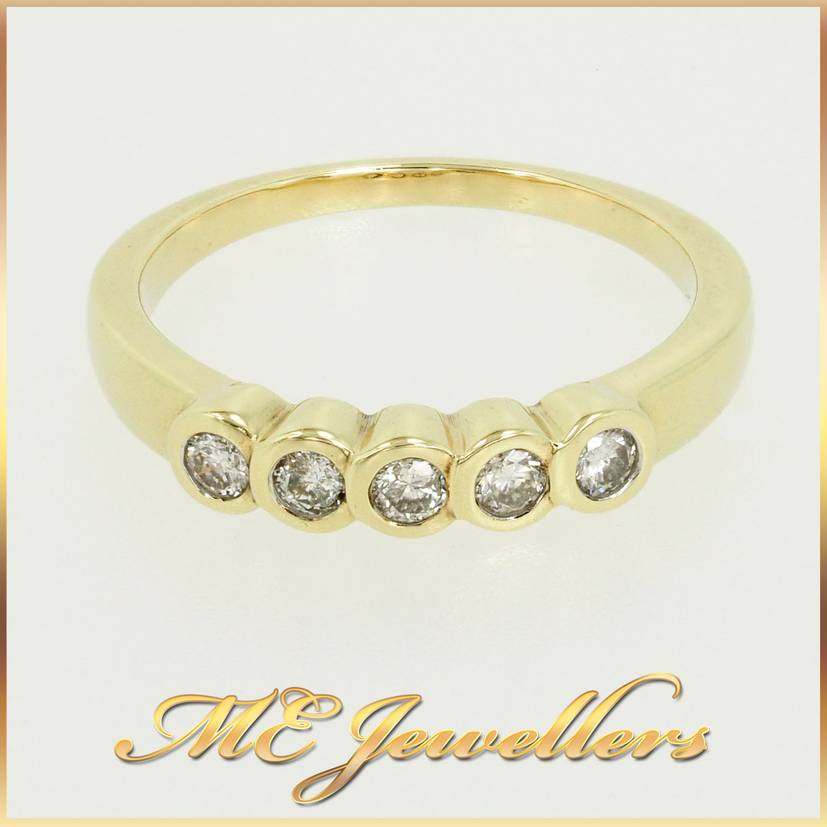 9k Diamond Yellow Gold Band