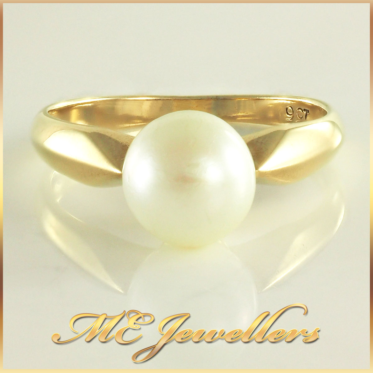 9K Yellow Gold Pearl Ring