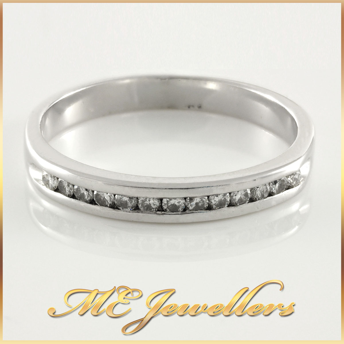 Channel Set Ladies White Gold Diamond Ring