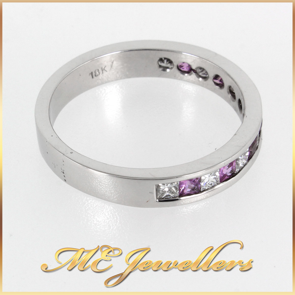 18K White Gold Band With Pink Sapphire and Diamonds