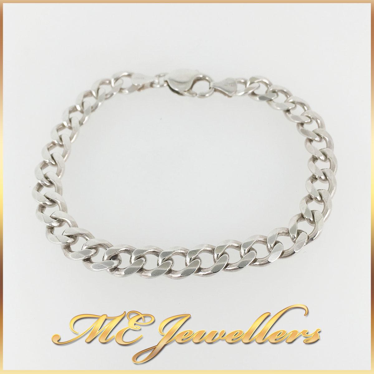 Flat Curb Sterling Silver Bracelet