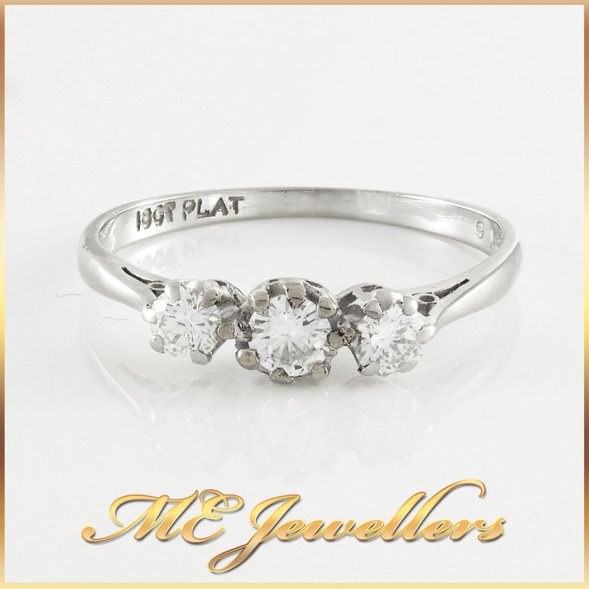 18k White Gold Trilogy Diamond Ring
