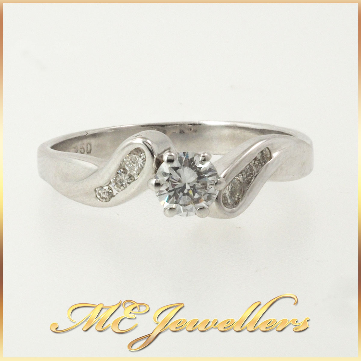 Solitaire Diamond Bypass Engagement Ring