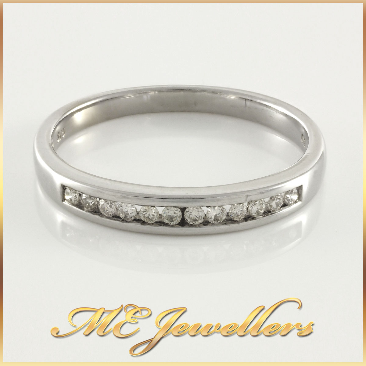 Ladies 9K Channel Set Diamond Ring
