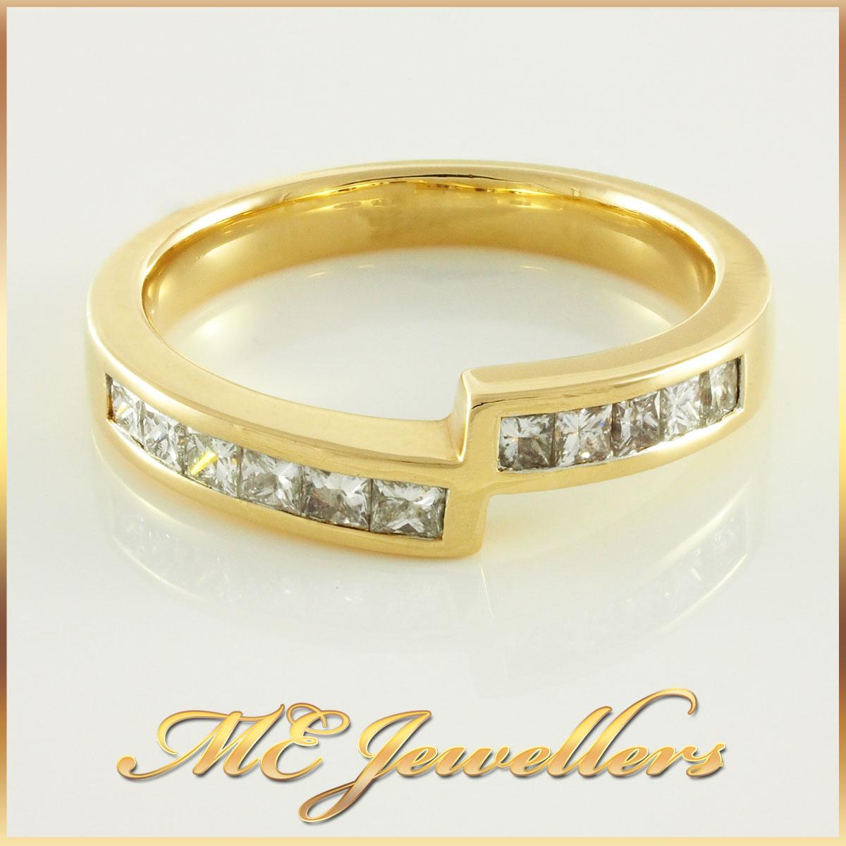 Ladies Yellow Gold Princess Cut Diamond Ring