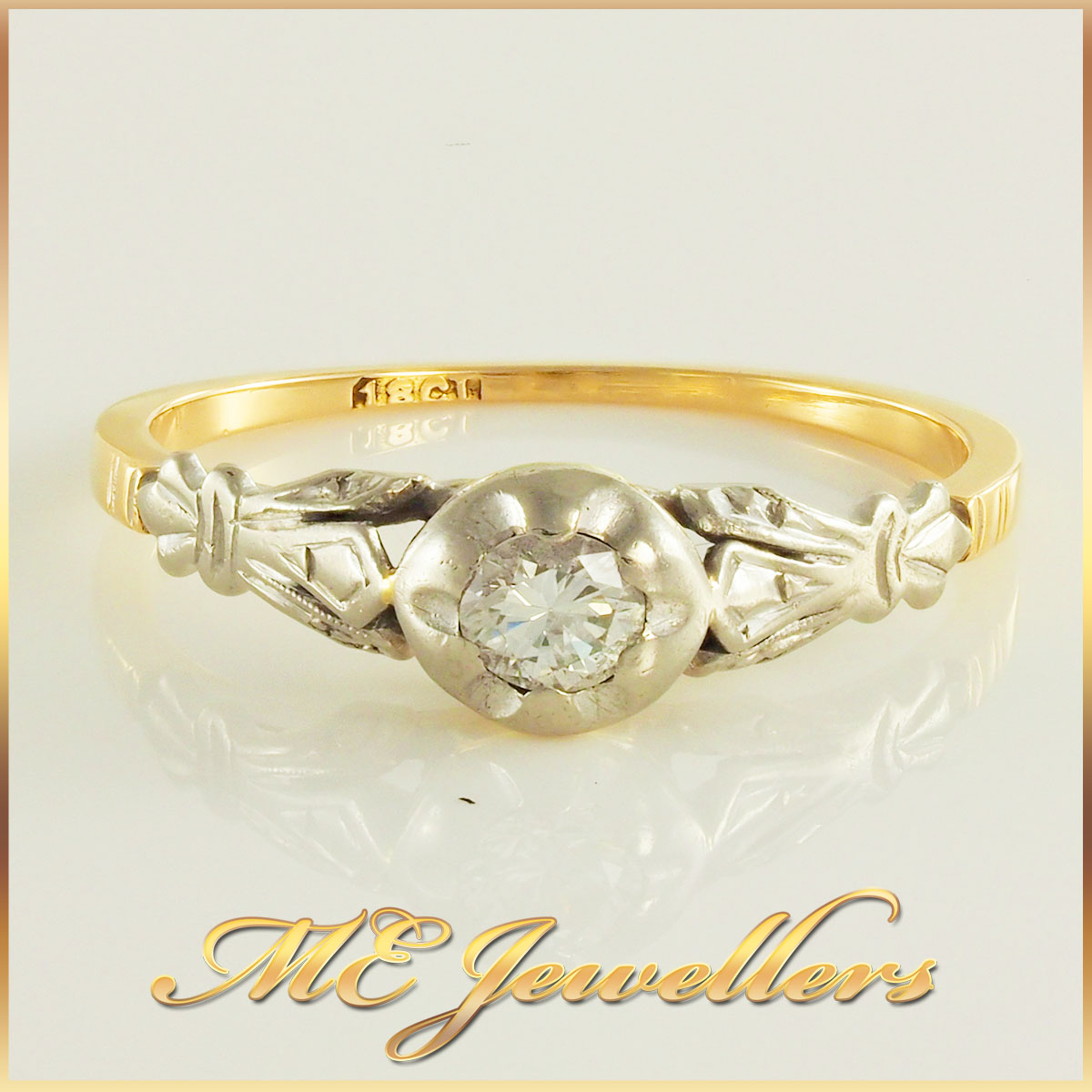 18k Gold Vintage Solitaire Ring