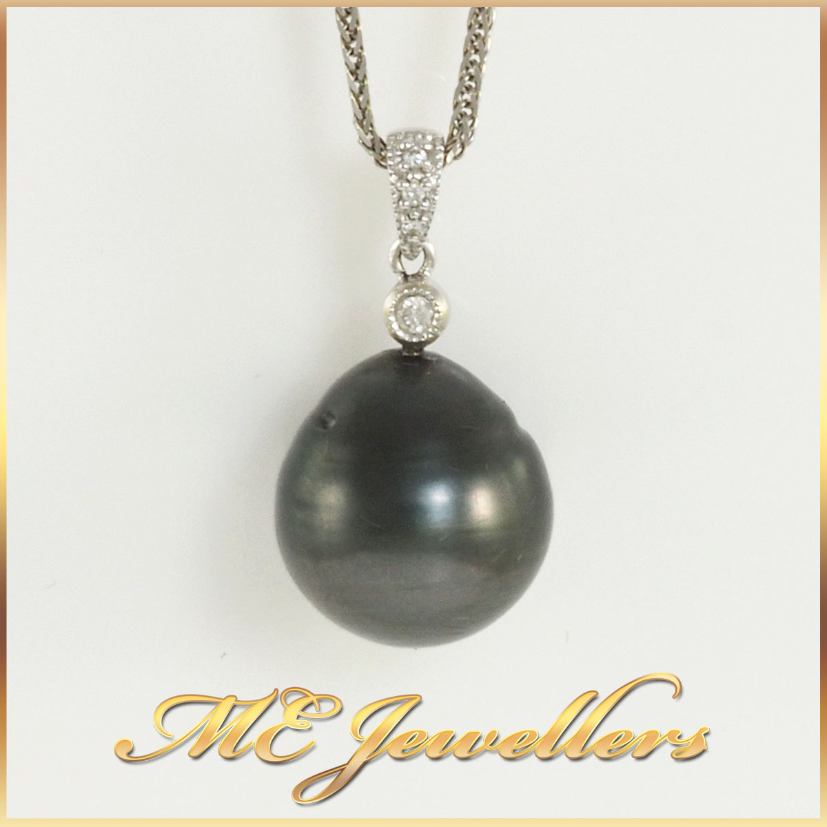 Tahitian Drop Pearl Pendant with Chain