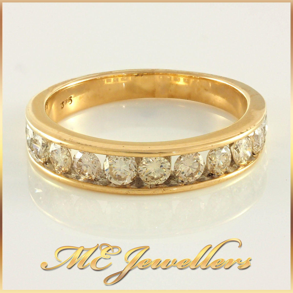 Channel Set Diamond 9k Yellow Gold Wedding Band
