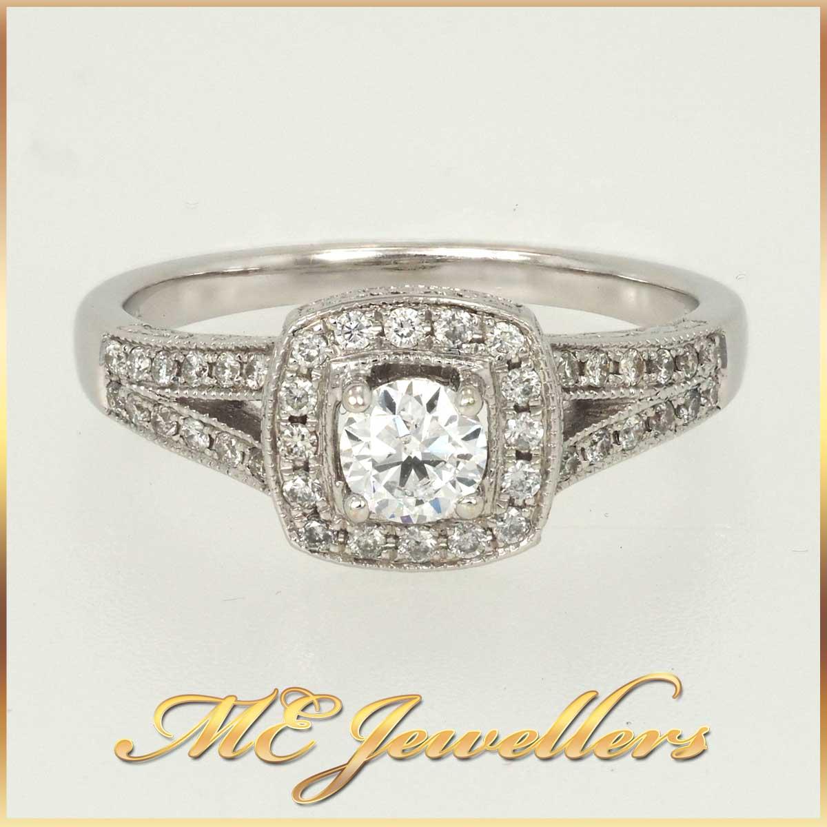 14K Halo Diamond Engagement Ring