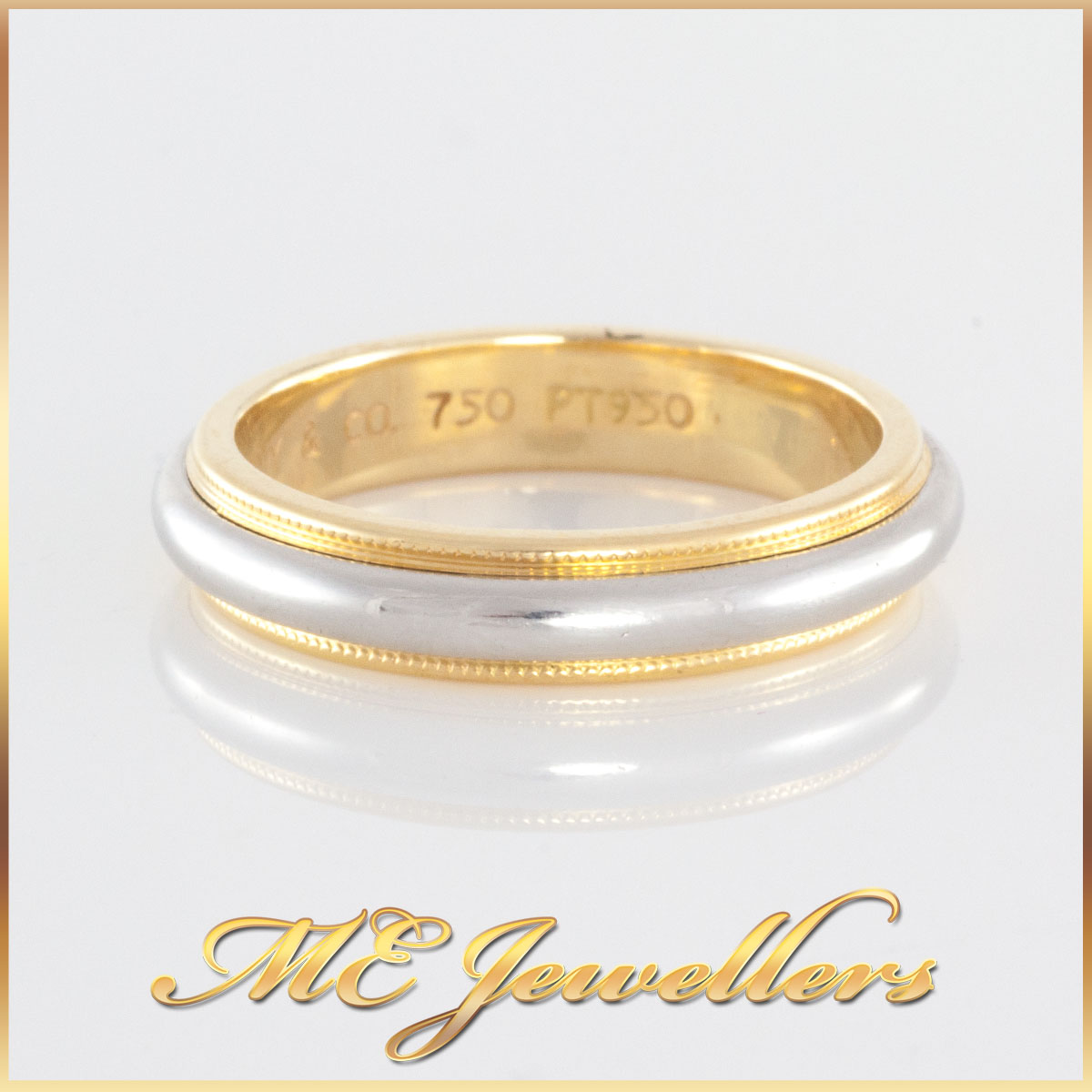 Tiffany Milgrain Wedding Band Two Tone