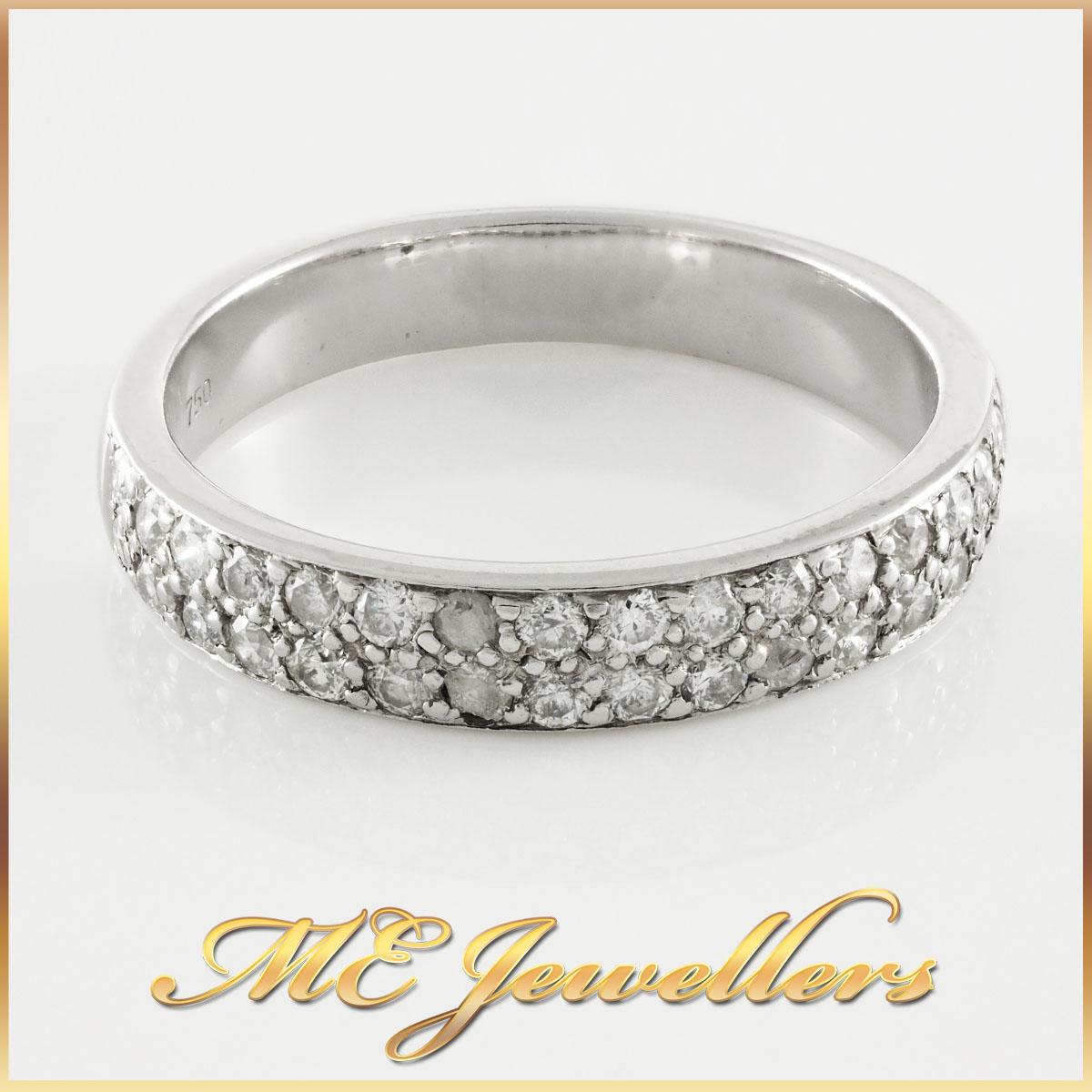 18k White Gold Grain Set Diamond Band