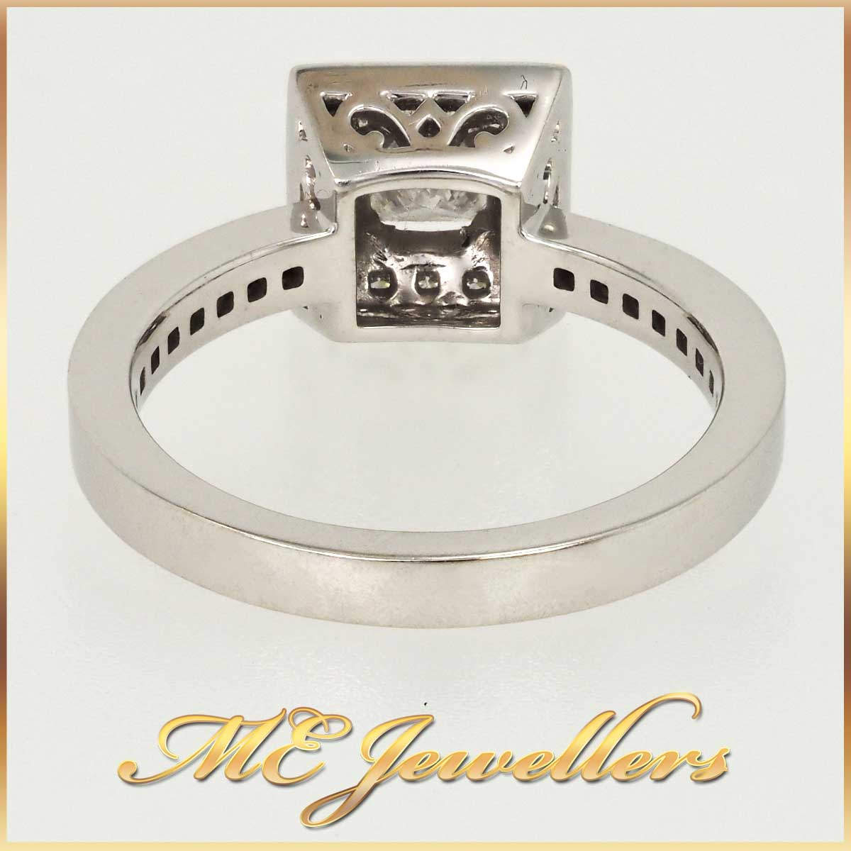 White Gold Square Halo Ring