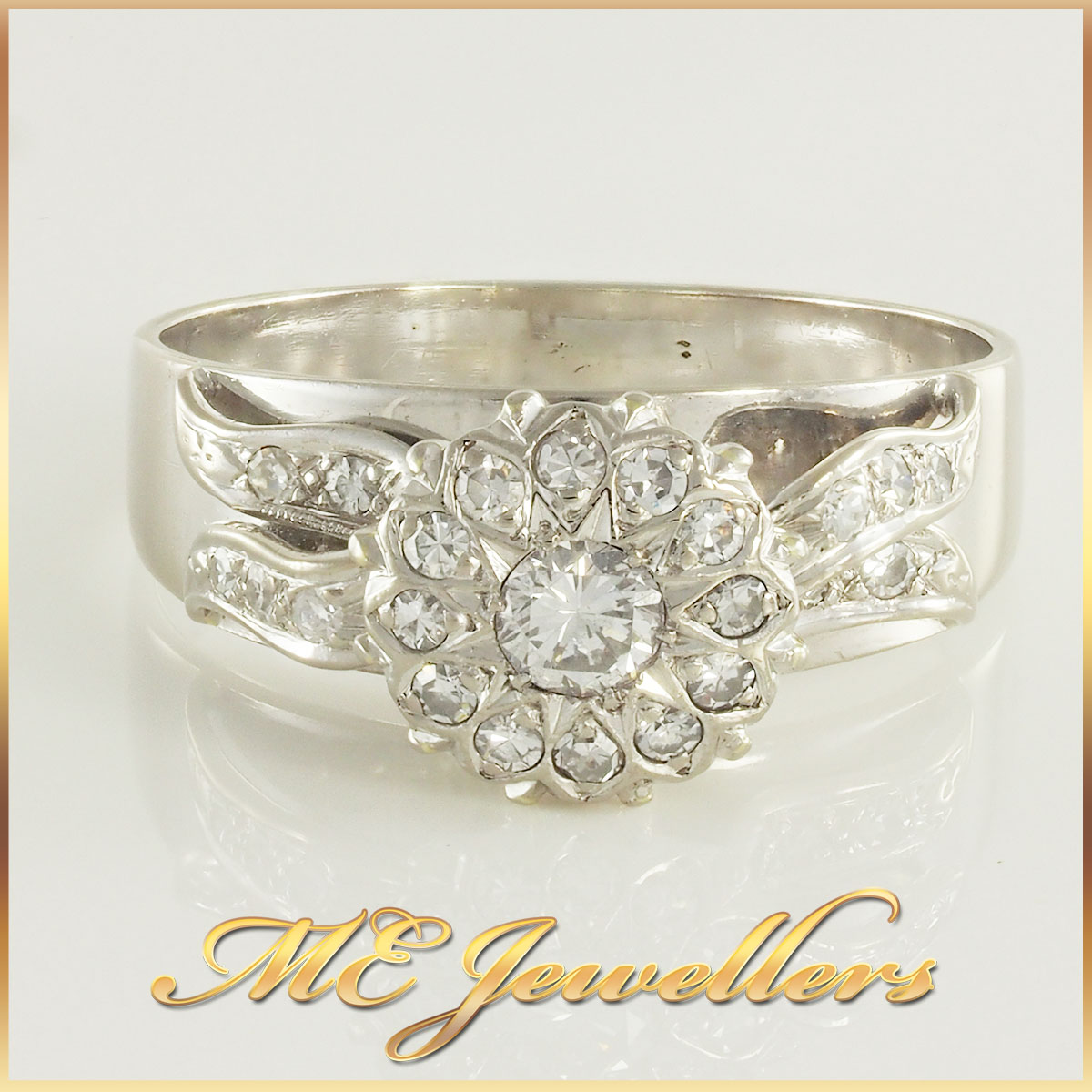 Ladies White Gold Cluster Ring