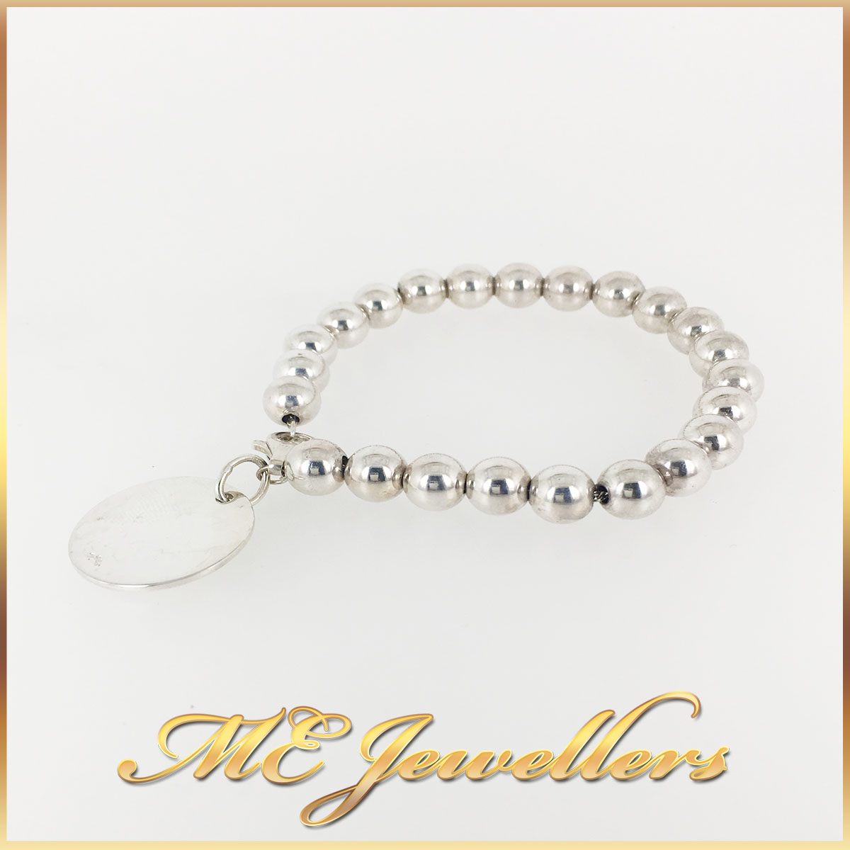 Silver Round Tag Beaded Bracelet