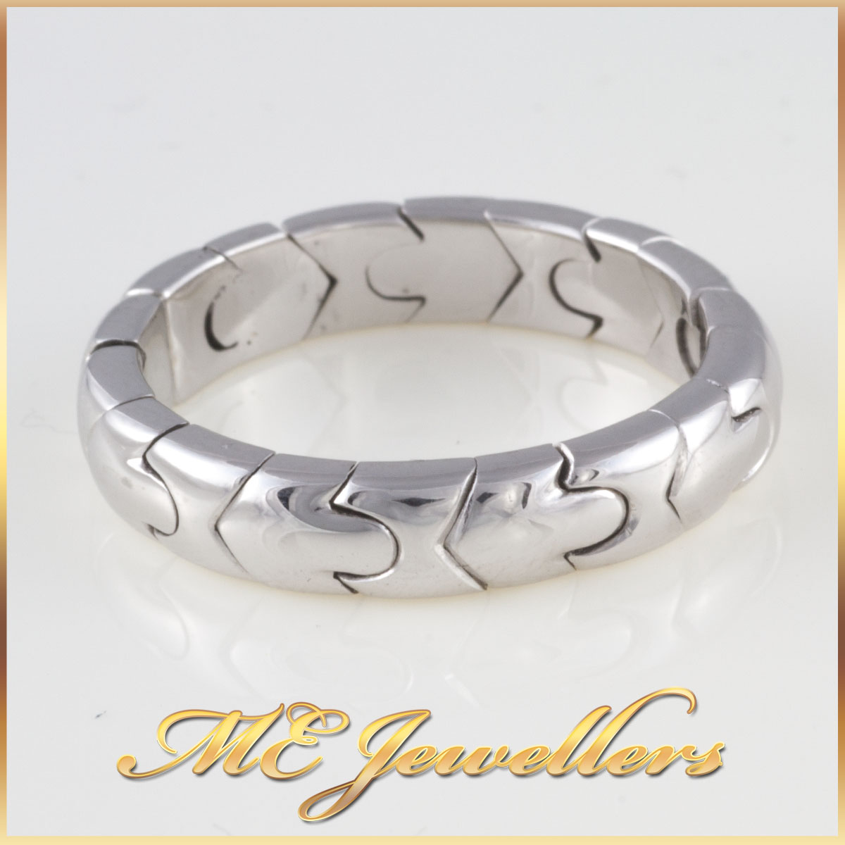 Mens White Gold Puzzle Band