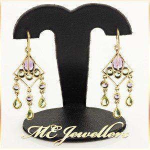 Amethyst Drop Earrings With Peridot In 9K Yellow Gold