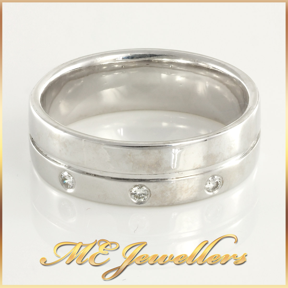 Mens White Gold Band with 3 Diamonds