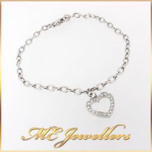 6799_Authentic TIFFANY &6799_Authentic TIFFANY Heart Charm Bracelet Diamonds Platinum 17.5cm +Box (3) Co. T&Co. Heart Charm Bracelet Diamonds Platinum 17.5cm +Box (3)