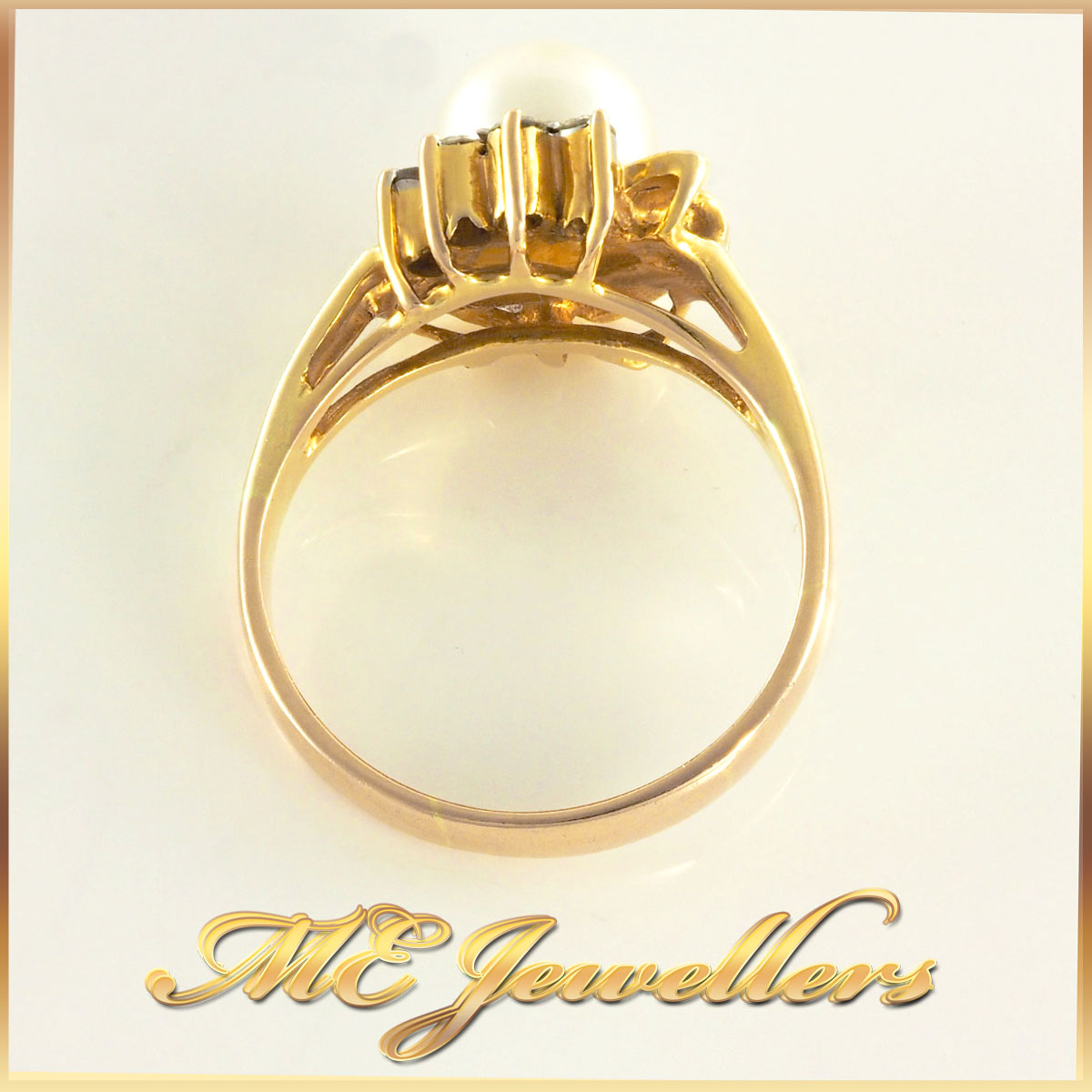 14K Pearl Dress Ring With Diamonds