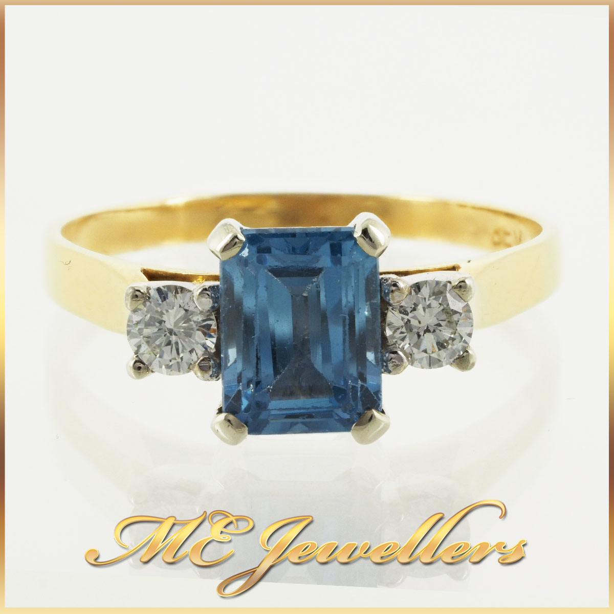 30 Blue Spinel Dress Ring With Diamonds In 18K YG and Palladium 4