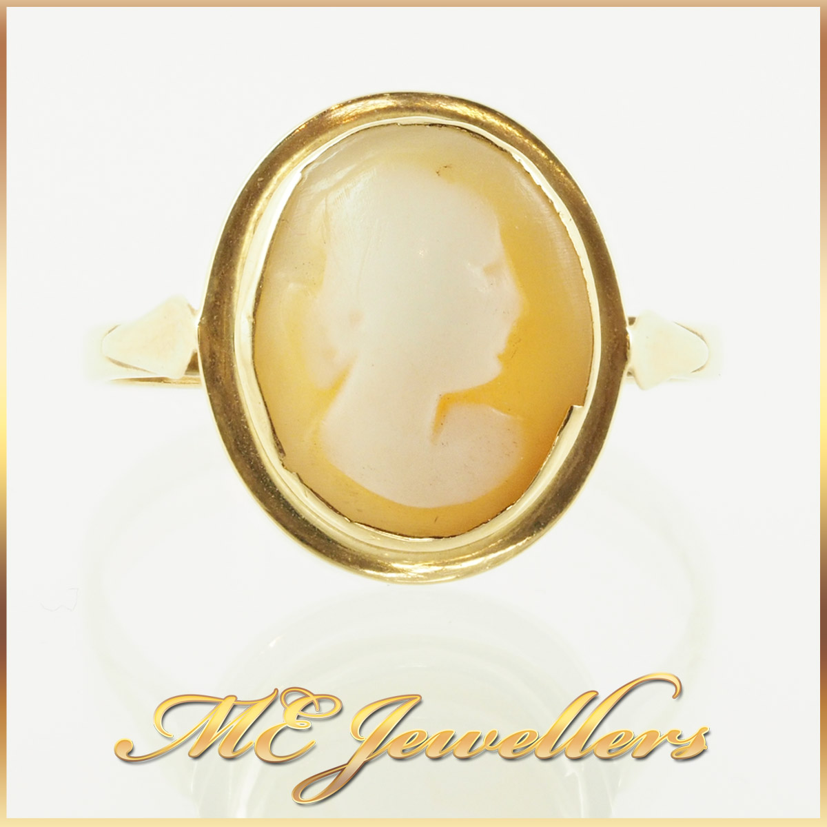 2214 Melted Cameo Ring 14K Yellow gold 1