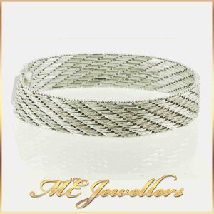 White Gold Bracelet Solid 14K Textured Detail