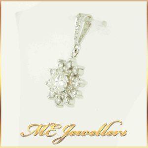Flower Diamond Pendant 18K White Gold