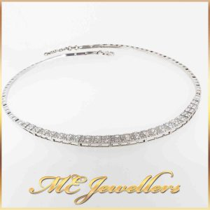 Platinum Diamond Necklace With 18K White Gold Clasp