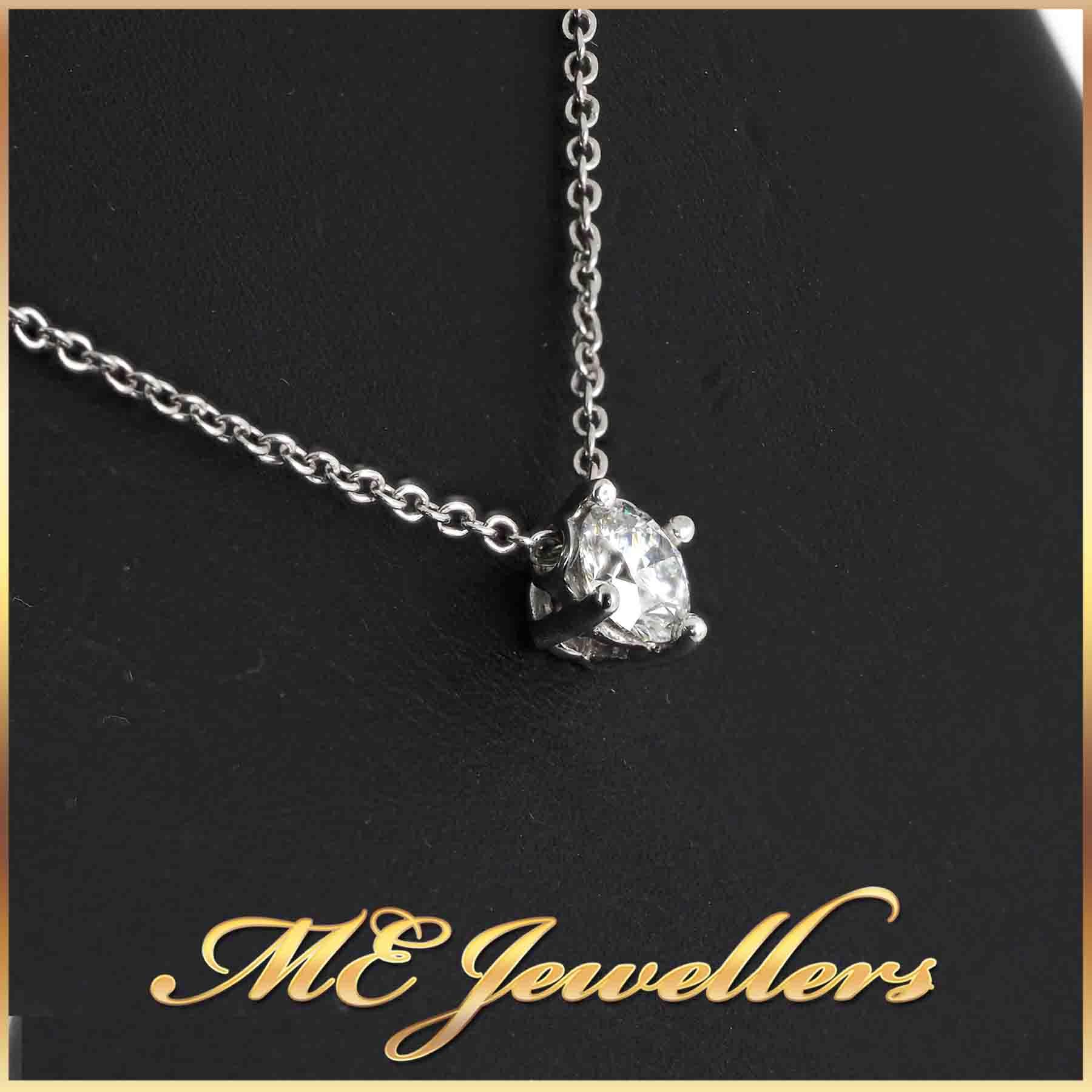 2498-Solitaire Diamond Pendant 0.70ct 18K White Gold 2