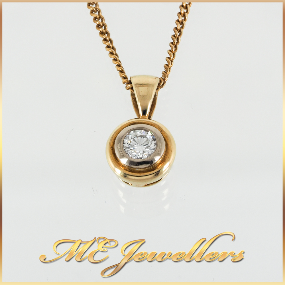 3221 0.25ct Round Brilliant Diamond Pendant 18k