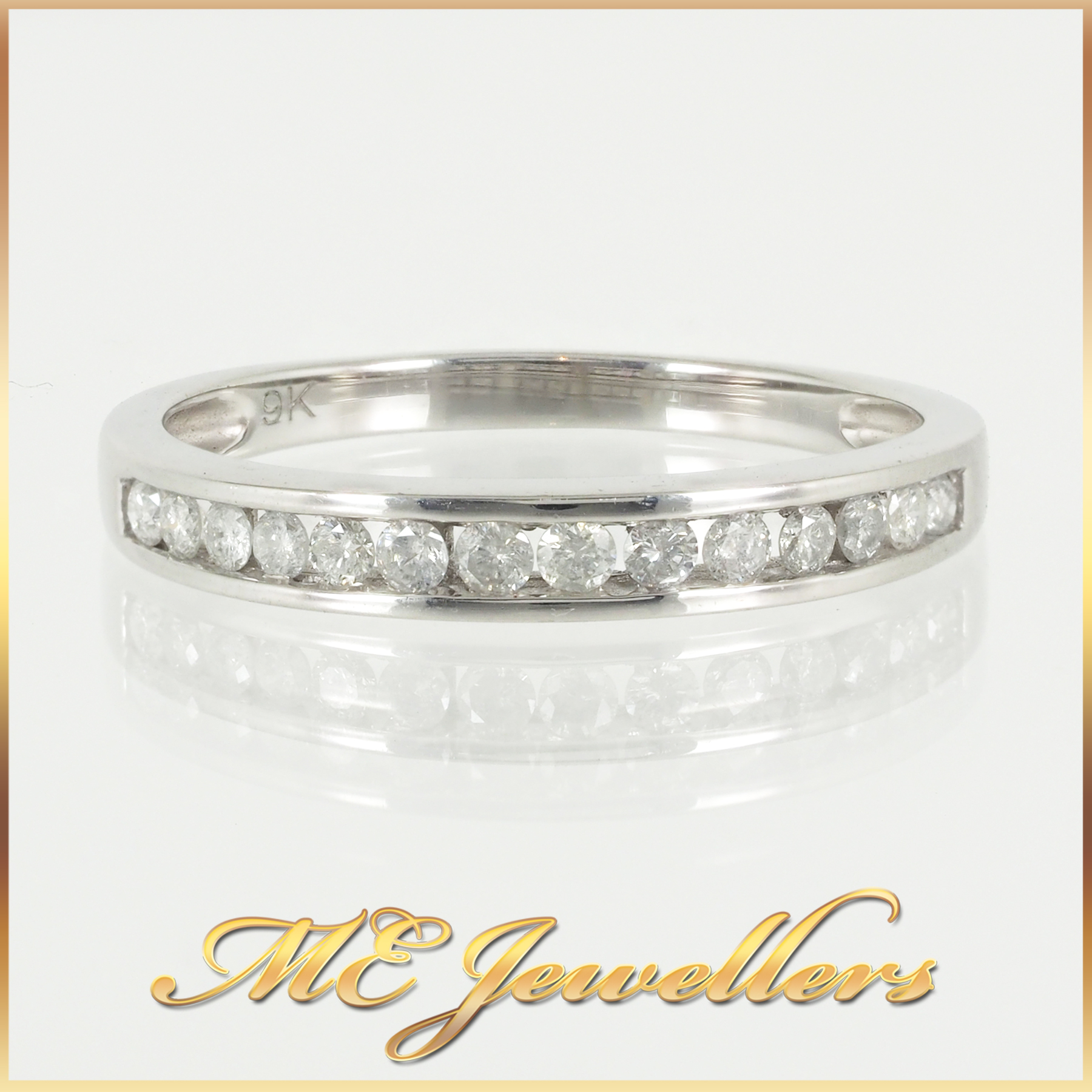 White Gold Diamond Wedding Band Size O