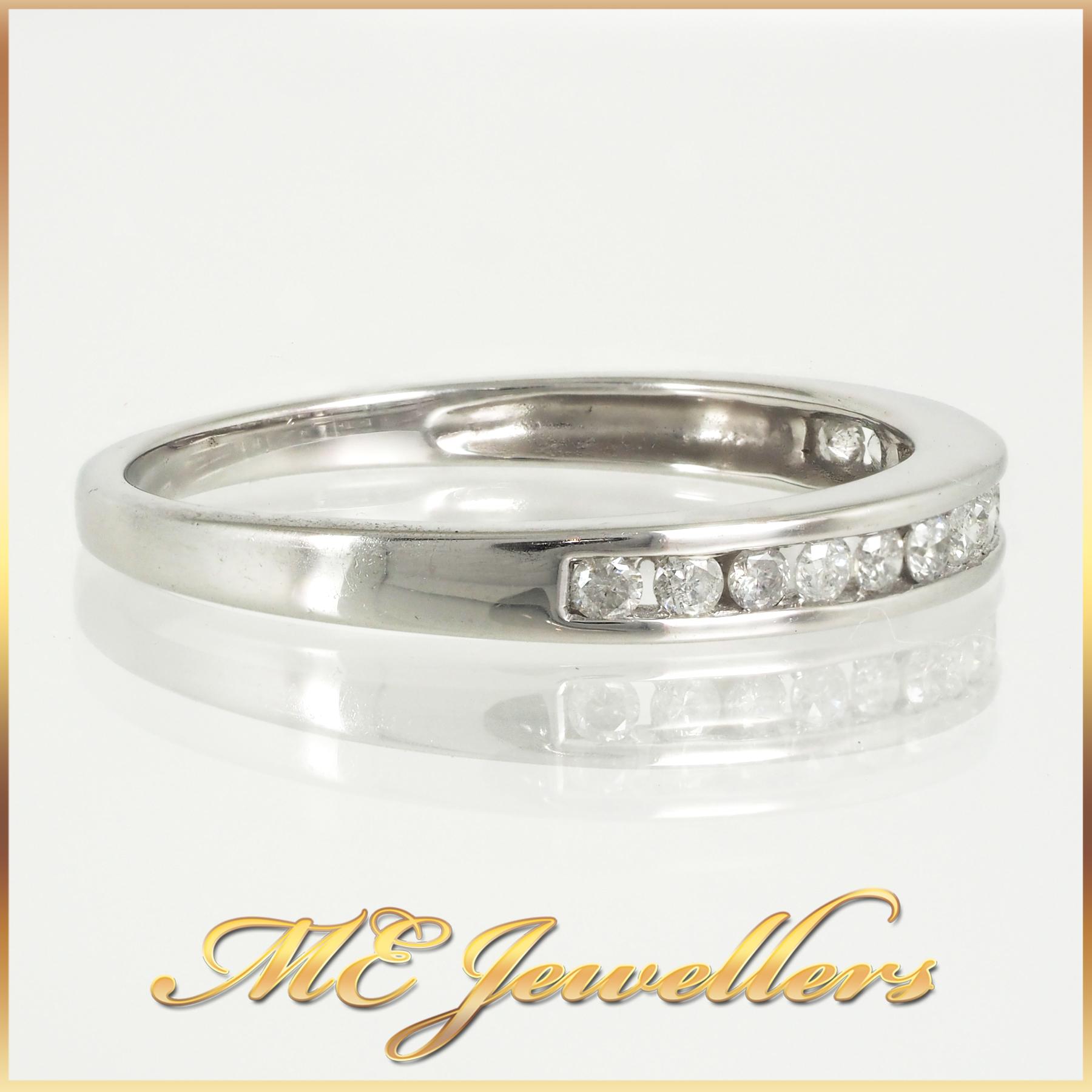 White Gold Channel Set Diamond Wedding Ring Size Q