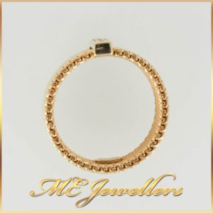 Tiffany Yellow Gold Meshed Ring With Diamond In Solid 18K