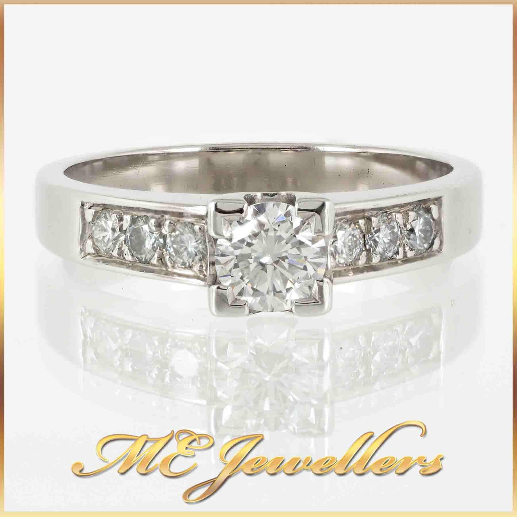 951-modern engagement ring with accents 18K white gold 1