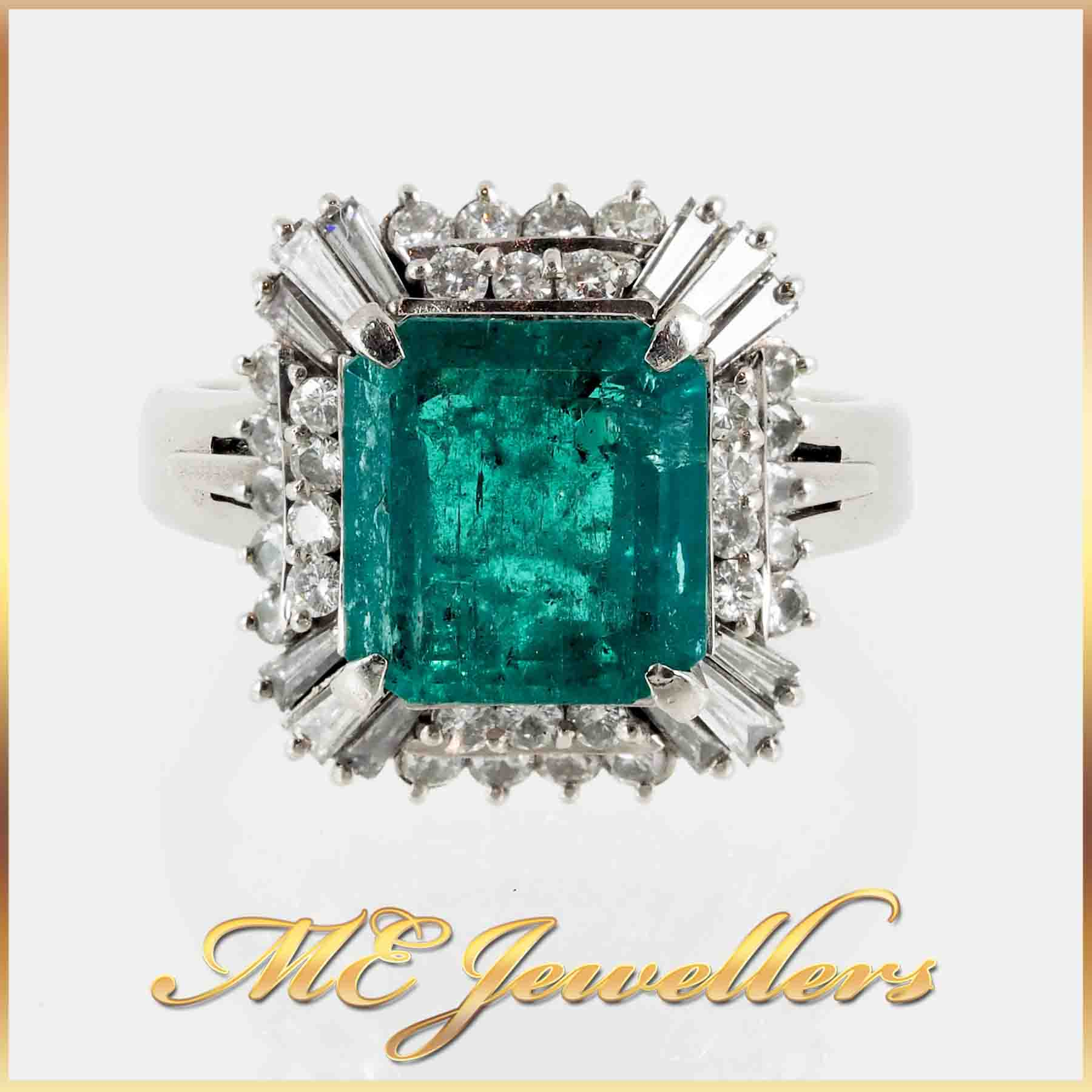 Vintage Natural Emerald Diamond Ring